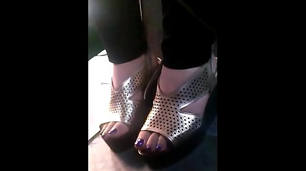 Bus, Closeup, Candid, Mature feet, Candid mature